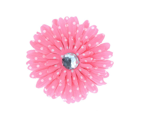Pink Polka Dot Rhinestone Daisy Flower Hairclip Hair Accessory