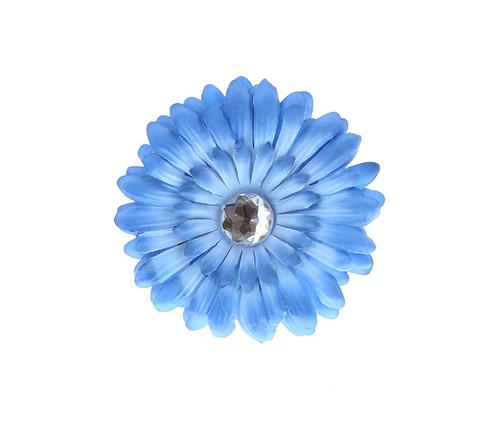 Dark Blue Ombre Rhinestone Daisy Flower Hairclip Hair Accessory