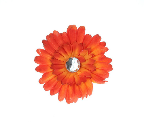 Orange Ombre Rhinestone Daisy Flower Hairclip Hair Accessory