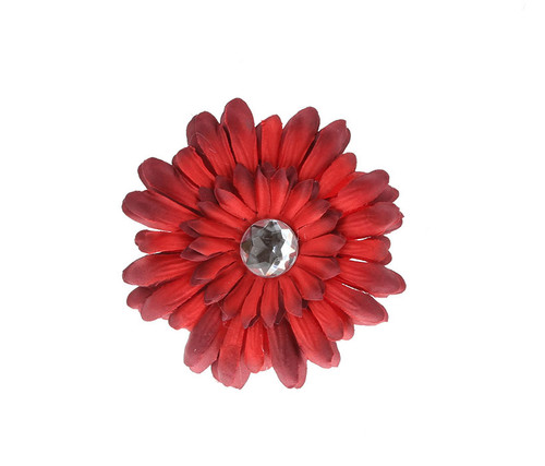 Red Rhinestone Daisy Flower Hairclip Hair Accessory