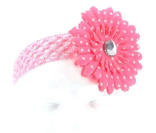 Pink Polka Dot Daisy Flower Crochet Headband Hair Accessory