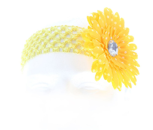 Yellow Polka Dot Daisy Flower Crochet Headband Hair Accessory