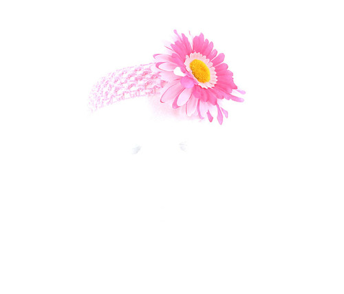 Pink and Hot Pink Two-Tone Daisy Flower Crochet Headband Hair Accessory