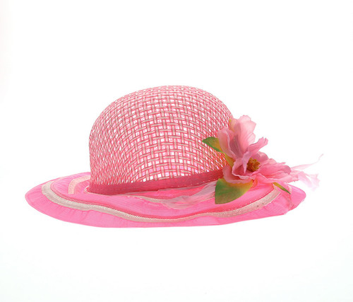 Girls Pink Tea Party Flower Hat Girls Hat