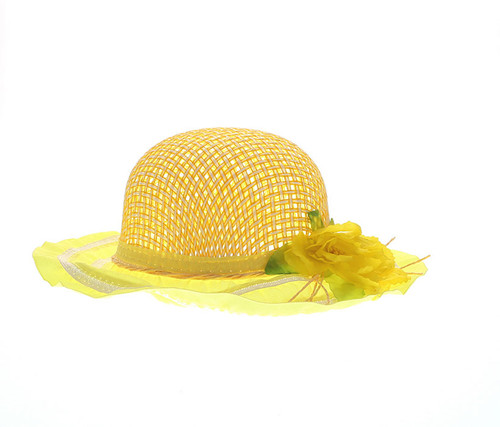 Girls Yellow Tea Party Flower Hat Girls Hat