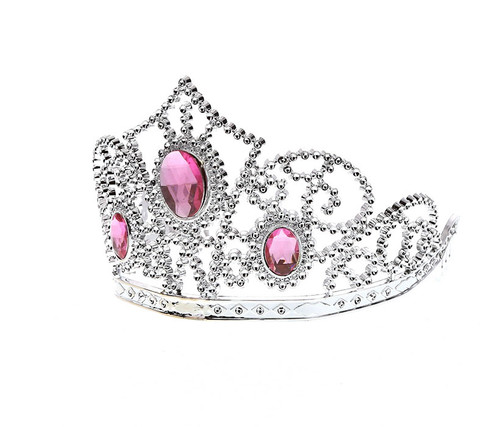 Girls Silver Pink Rhinestone Tiara Costume Accessory