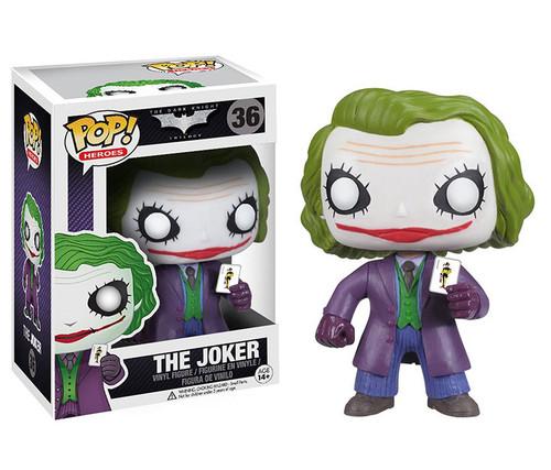 Batman Dark Knight The Joker Pop! Vinyl Figure drawing his Joker card. Collectible Toy