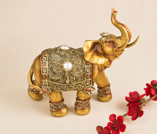 Fashioncraft Large Golden Decorative Walking Elephant Animal Decor Accent