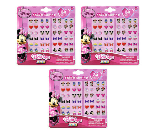 Disney Minnie Mouse Bowtique Sticker Earrings Set 3 Items Stick On Earrings