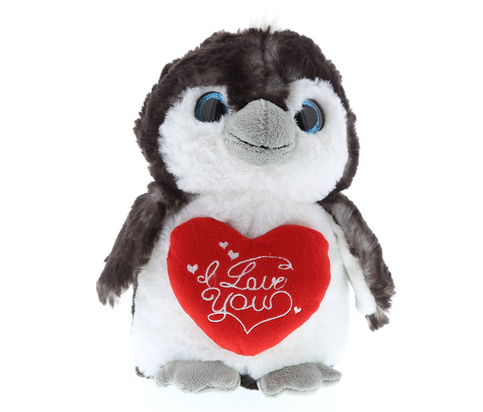 Dollibu Large Grey Penguin I Love You Valentines Plush Super Soft Plush