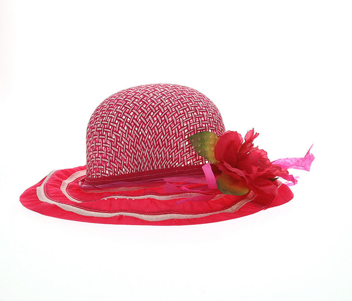 Girls Fuchsia Tea Party Flower Hat Girls Hat
