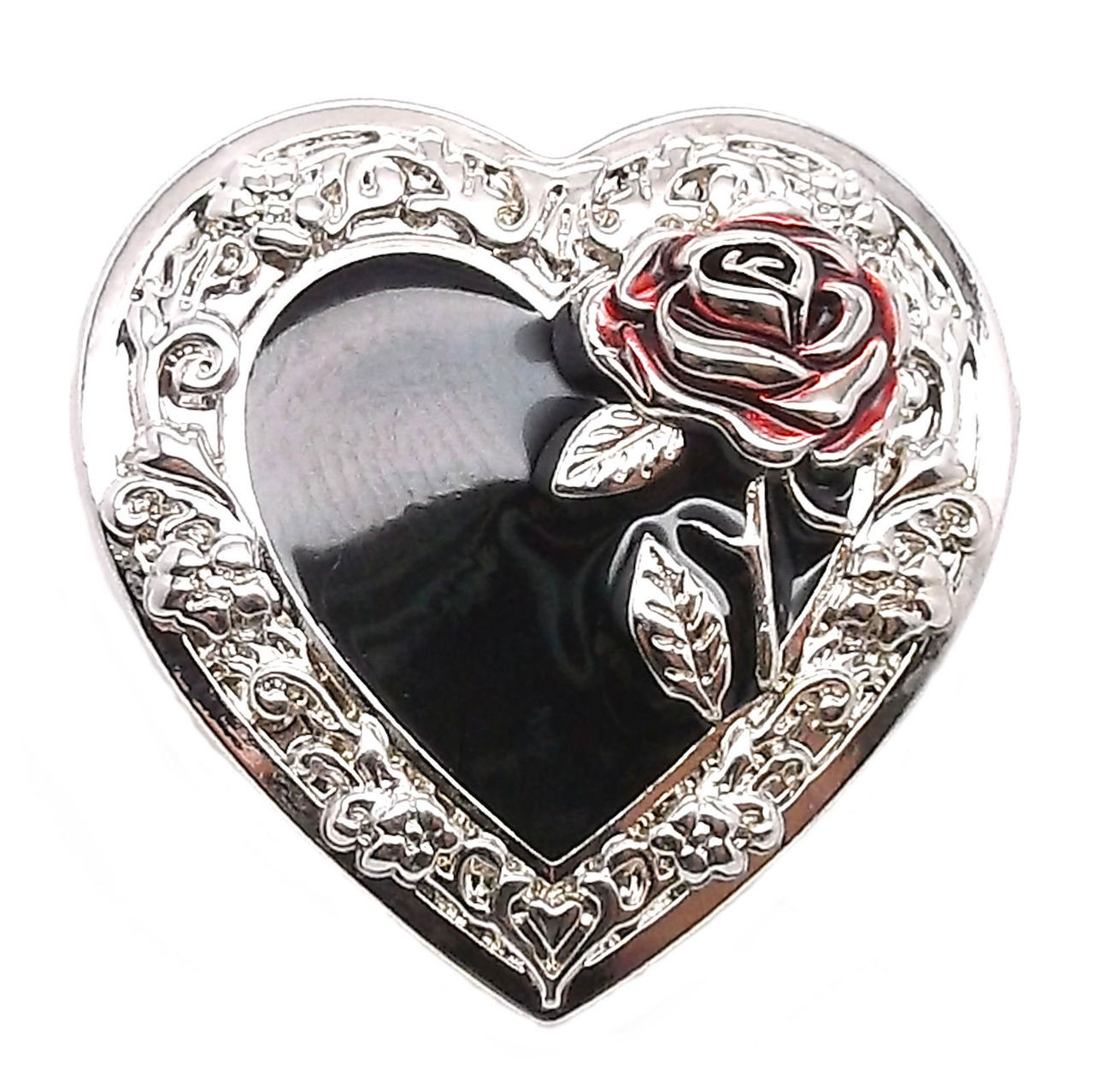 "Heart Concho with Red Rose Screw Back 1-1/4"" 2318-00"