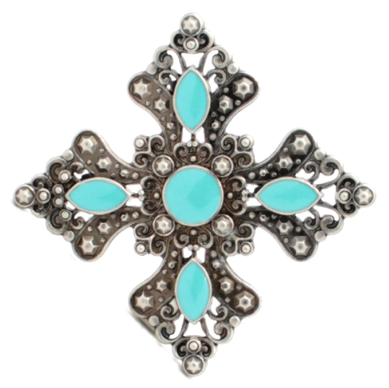 "Turquoise and Antique Silver Flower Concho 2-1/2"" 7213-01"