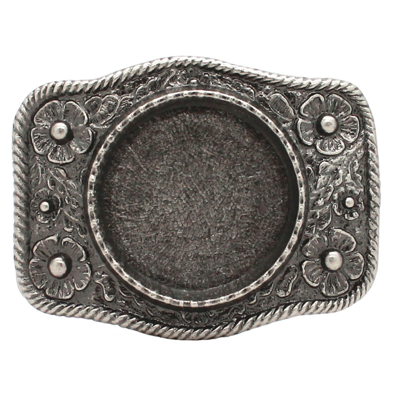 Roped Silver Dollar Leather Belt Buckle