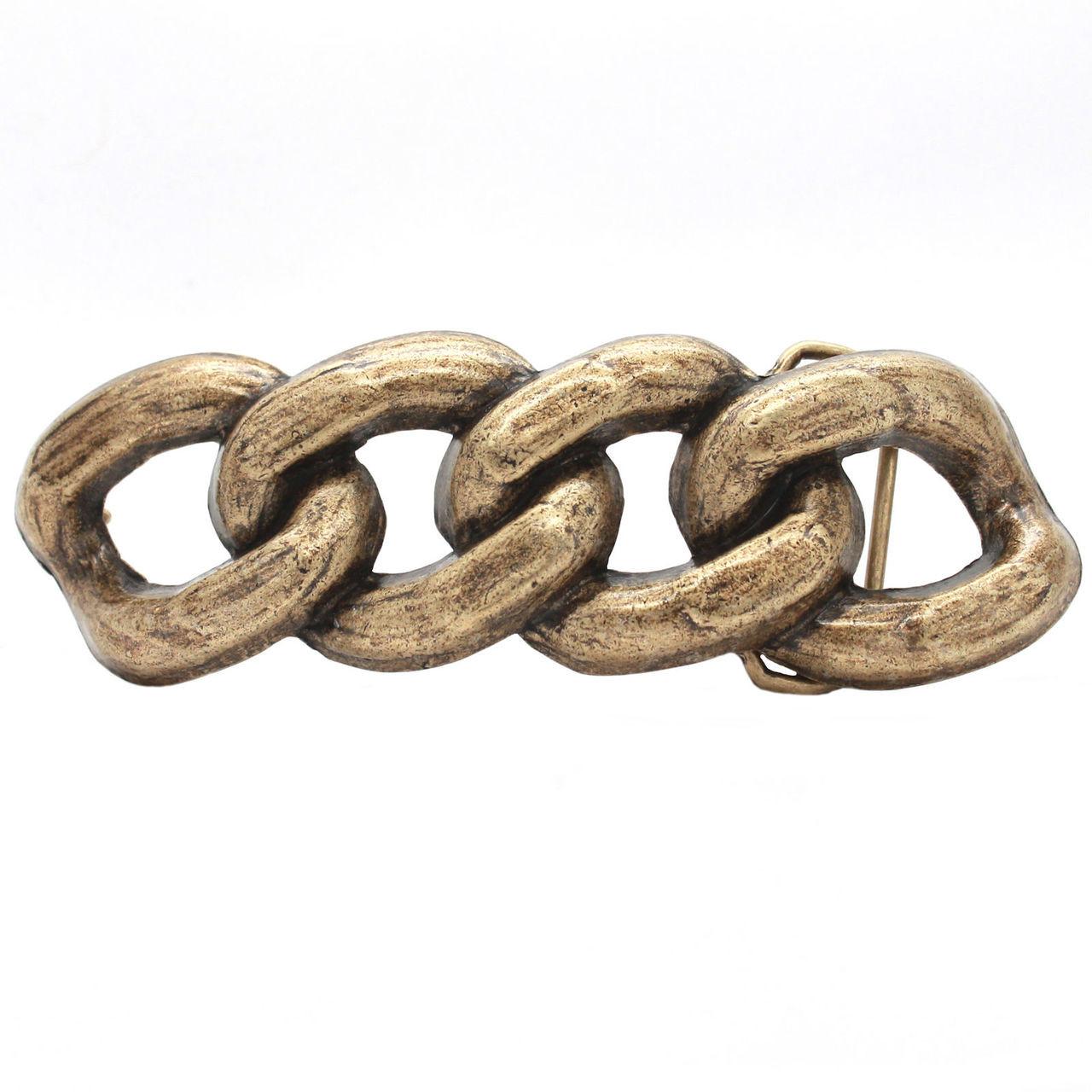 Chain Link Metal Belt Buckle Antique Brass 6009-09 USA