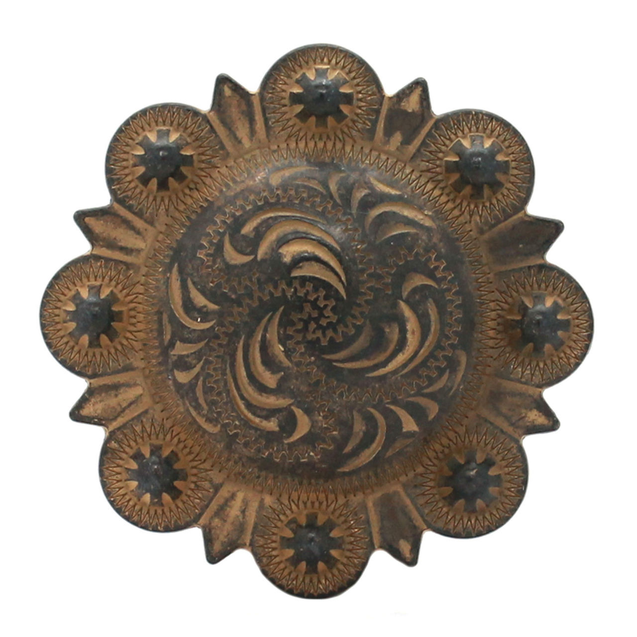 """Berry Concho Rustic Gold Screw Back 1.25"""""""
