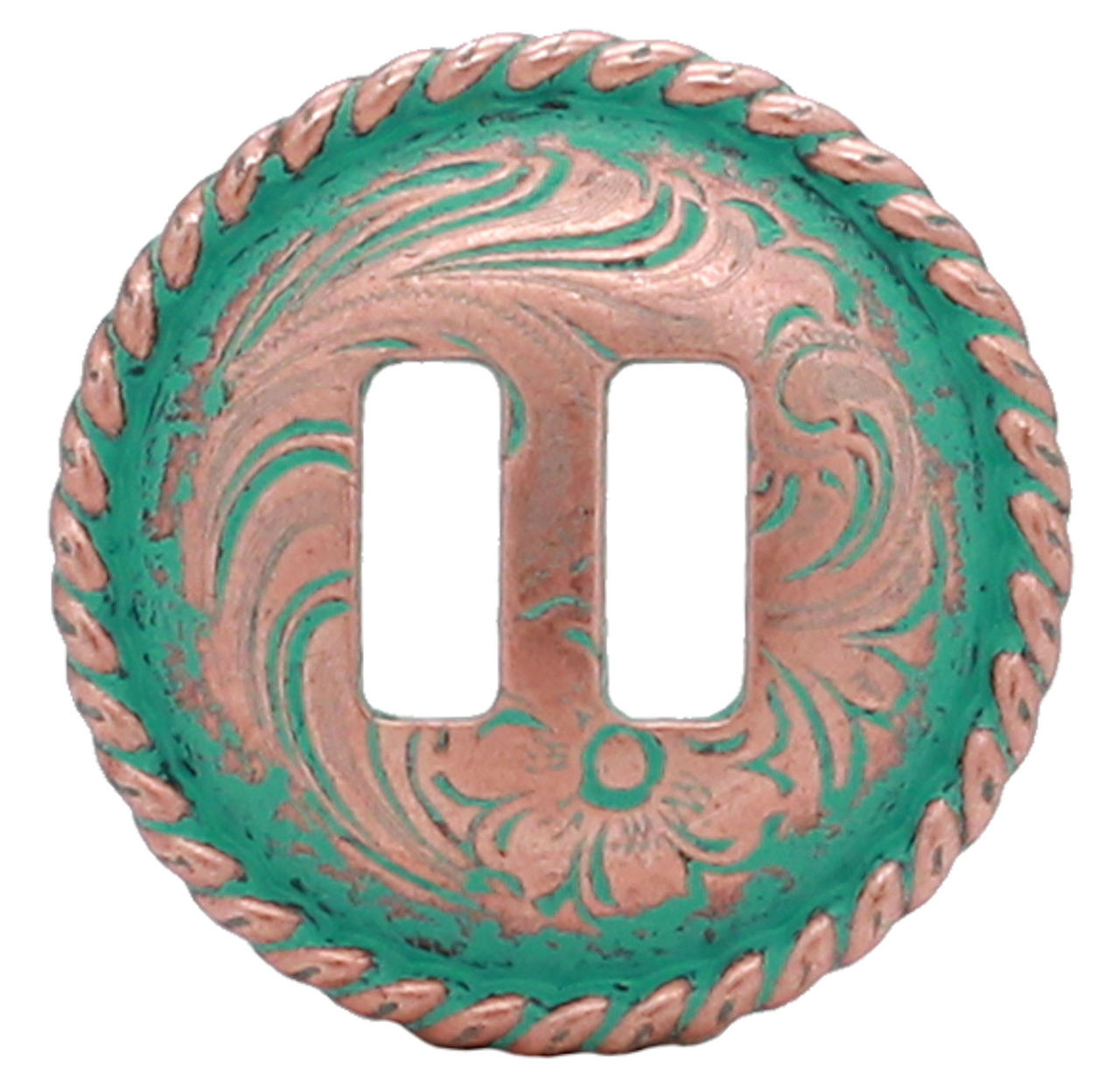 """Copper Patina Slotted Rope Edge Concho 1-1/2"""" 3485-90S"""