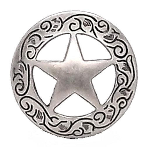 Texas Star Engraved Screw Back Concho 1-1/4""