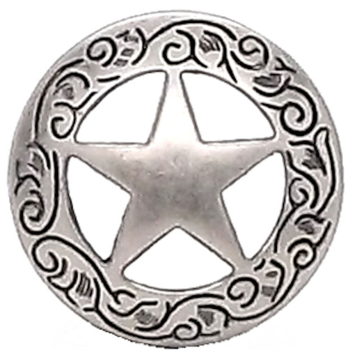 Texas Star Engraved Screw Back Concho 1-1/2""