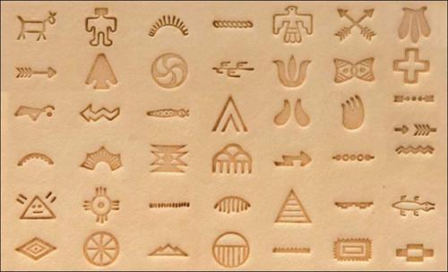 Native American Symbol Stamp Set on leather