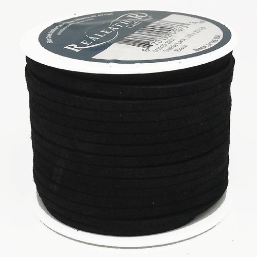 "Suede Lace Black 1/8"" x 25 yds. by Real Leather Made in USA"