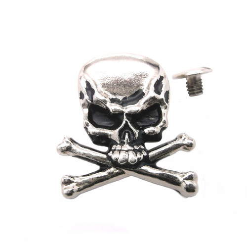 "Skull and Crossbones Nickel Plated 1.25"" Concho with screw"