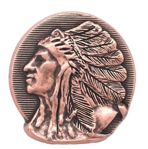 "Left Facing Chief Head Concho Antique Copper 1-1/2"""