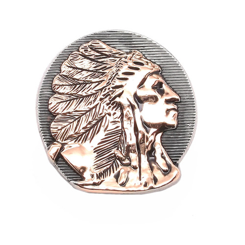 Right Facing Chief Head Concho Antique Nickel w/Rose Gold
