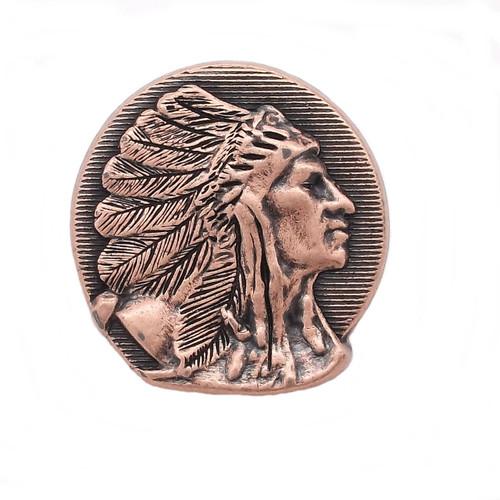 """Right Facing Chief Head Concho Antique Copper 1-1/4"""""""