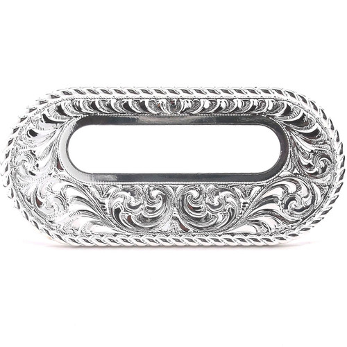 """Silver Rigging Plate 3.25"""" x 2"""" Slot Leather Strapping and Tie Downs Stecksstore"""