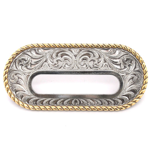 """Silver and Gold Rigging Plate 3.25"""" x 2"""" Slot Leather Strapping and Tie Downs"""
