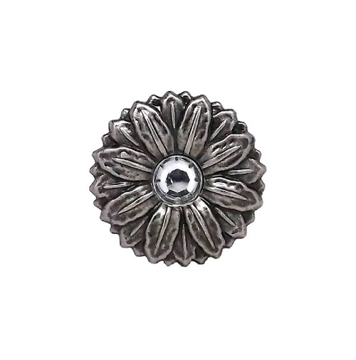 """Concho Synthetic Crystal 1"""" Antique Silver Screwback 2907AN"""