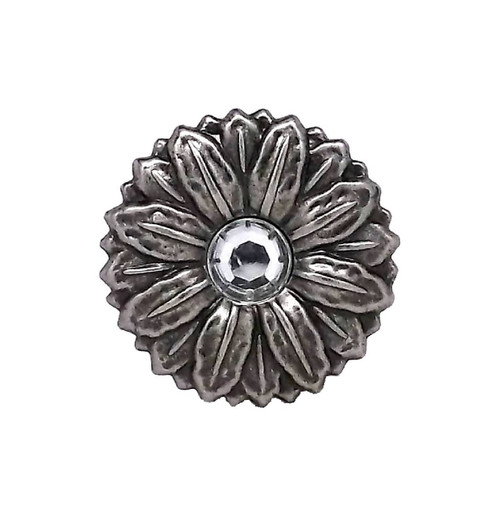 """Concho Synthetic Crystal 1-1/2"""" Antique Silver Screwback 2908AN by Stecksstore"""