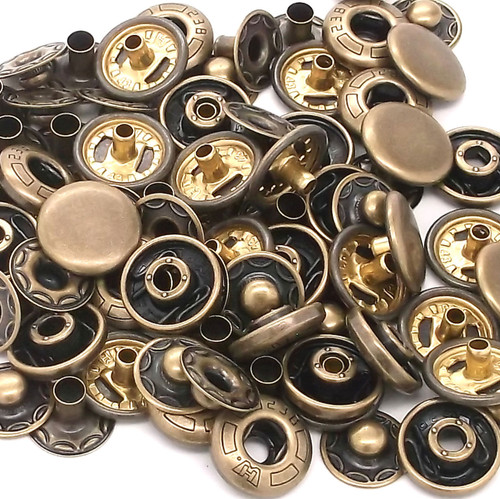 10 Pack Antique Brass 12 mm Spring Button Glove Snaps