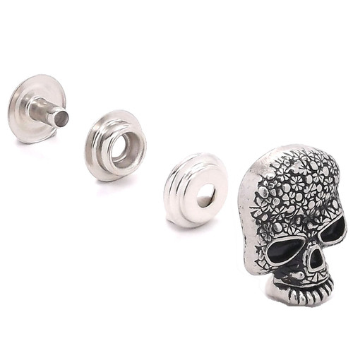 Floral Skull Line 24 Snap Cap Antique Nickel Set