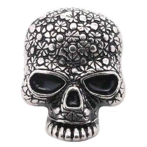 Floral Skull Line 24 Snap Cap Antique Nickel