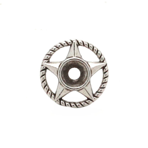 Western Roped Star Bezel Concho in Silver and Black Front