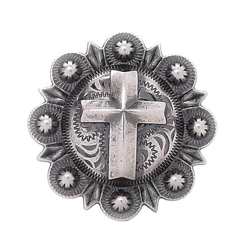Cross Berry Concho Antique Silver