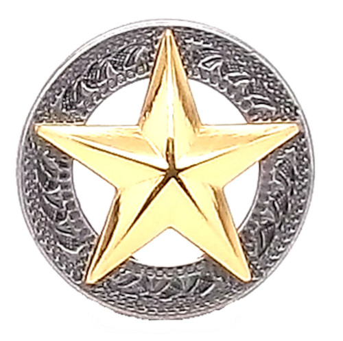 Texas Star Silver with Gold Star Screwback Concho 1-1/4""