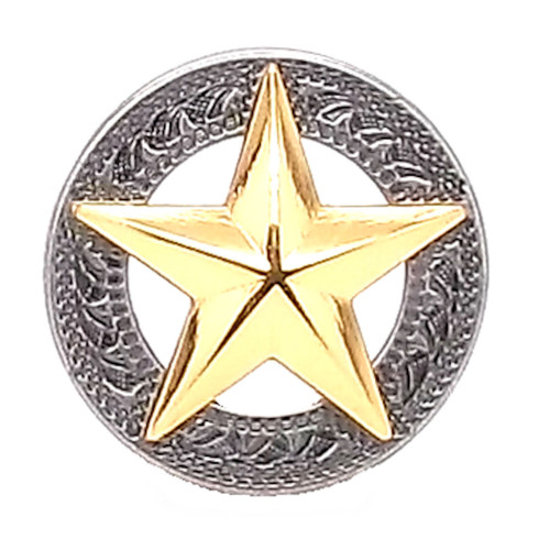 Texas Star Silver with Gold Star Screwback Concho 1""