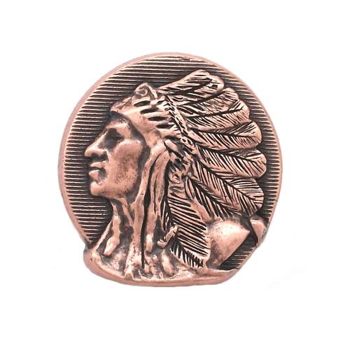 "Left Facing Chief Head Concho Antique Copper 1-1/4"""