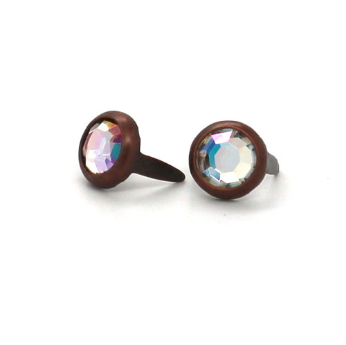 "Abalone Rhinestone Copper Plated Brass Spots 10 pk 5/16"" Diameter"