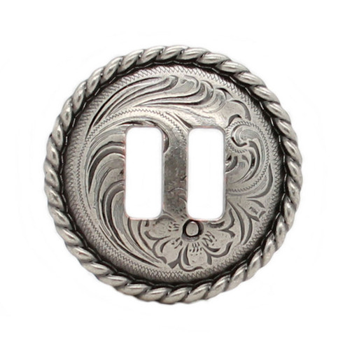"""Antique Nickel Slotted Rope Edge Concho 1"""""""