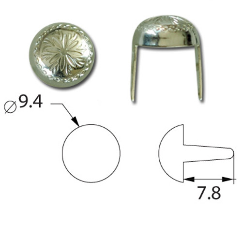 "Antique Nickel Nailhead Sunburst 3/8"" Diameter Spots Measurements"