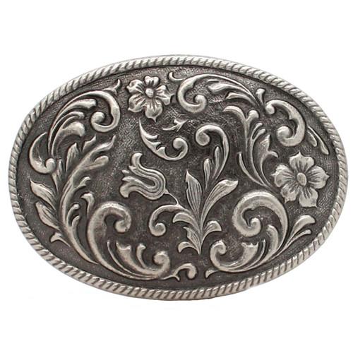 Roped Floral Vine Metal Belt Buckle Antique Nickel