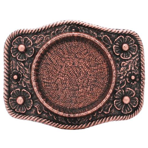 Roped Silver Dollar Metal Belt Buckle Antique Copper