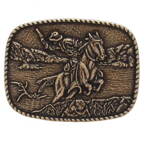 Roped Western Metal Belt Buckle