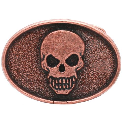 Skull Head Metal Belt Buckle Antique Copper