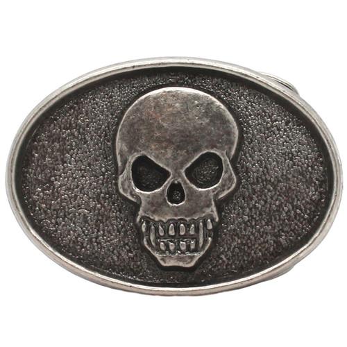 Skull Head Metal Belt Buckle Antique Nickel 6004-21 USA