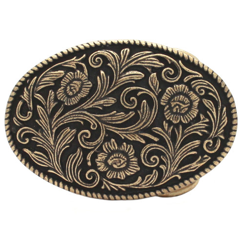 Roped Floral Metal Belt Buckle Antique Brass 6005-09